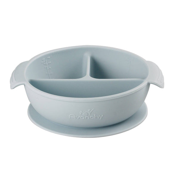 Avanchy Silicone Baby Divided Bowl & Lid - Gray