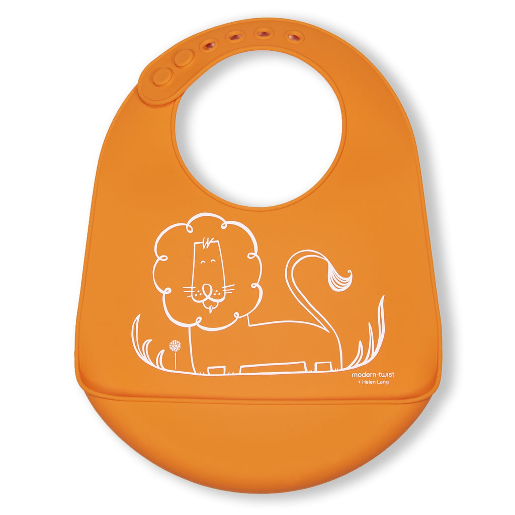 Modern Twist Silicone Catch Bib - Dandy Lion / Fresh Orange