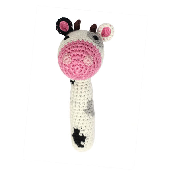 Cheengoo Stick Hand Crocheted Rattle - Cow