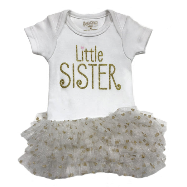 Sara Kety Little Sister Tutu Onesie Gold Heart