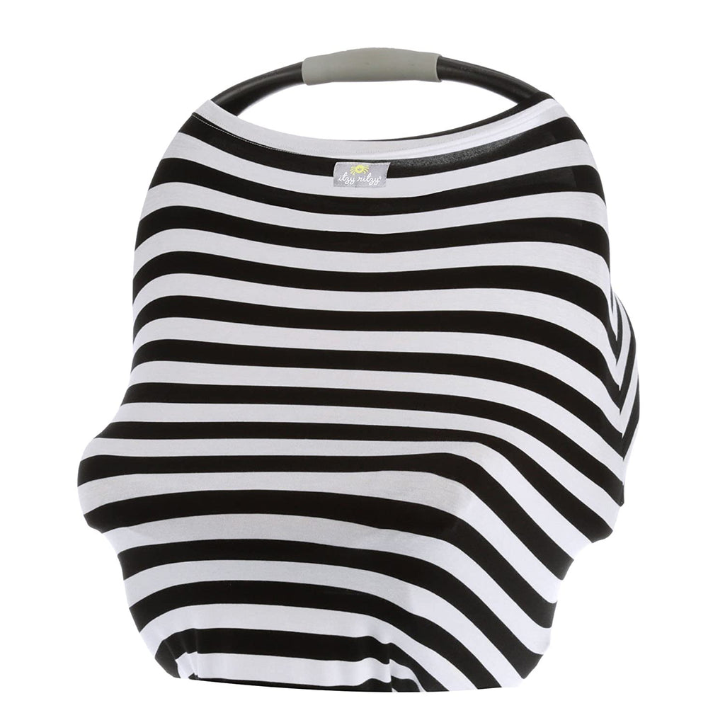Itzy Ritzy Mom Boss Multi-Use Cover - Black & White Stripe