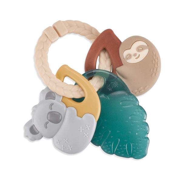 Itzy Ritzy Teething Keys - Itzy Keys Include Braided Texture Ring & Keys with Mixed Textures, Tropical