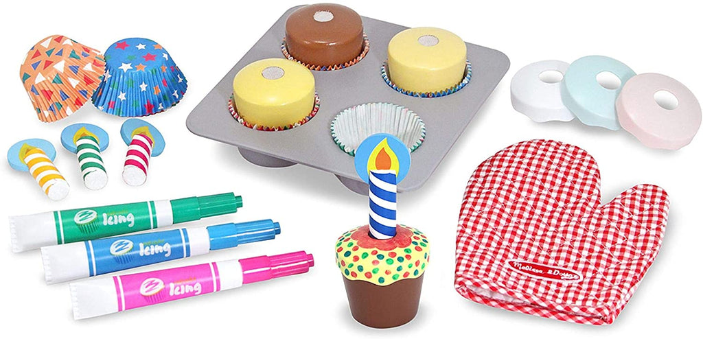 Melissa & Doug Bake & Decorate Cupcake Set (Pretend Play, Colorful Wooden Play-Food Set