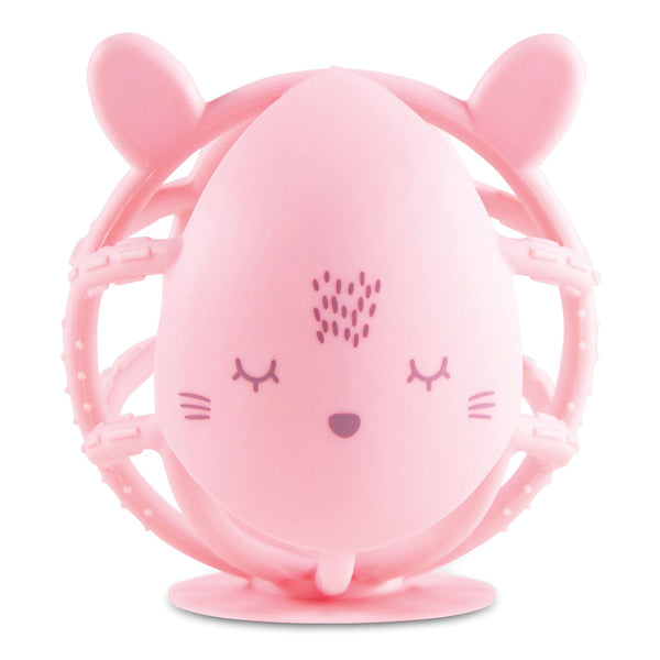 Tiny Twinkle Bunny Silicone Teether Toy - Rose