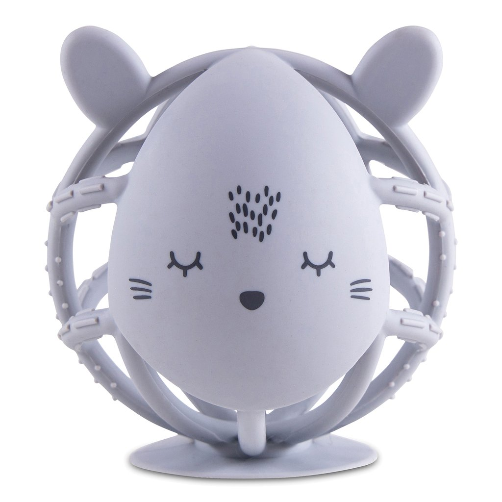 Tiny Twinkle Bunny Silicone Teether Toy - Grey