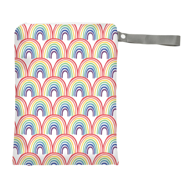 Itzy Ritzy Travel Happens Sealed Wet Bag with Adjustable Handle - Happy Rainbows