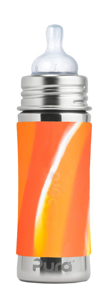 Pura Kiki Infant Bottle - Orange Swirl Sleeve / 11oz