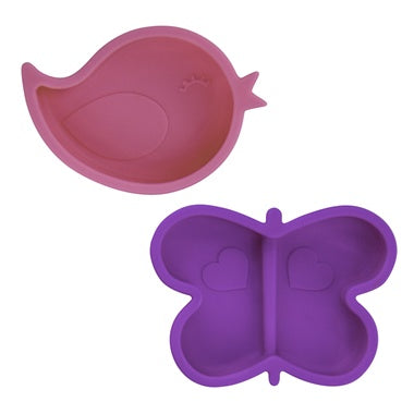 Kushies Silidip Silicone Mini Bowl - Fuchsia Bird / Purple Butterfly