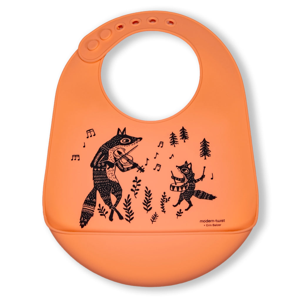 Modern Twist Silicone Catch Bib - Fox Family / Melon