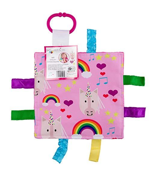 Baby Jack Unicorn Hearts Crinkle Tag Square
