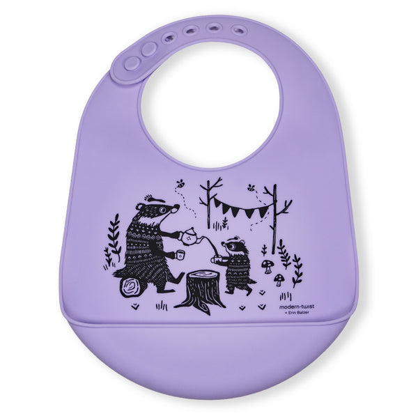 Modern Twist Silicone Catch Bib - Badger Family / Lavender