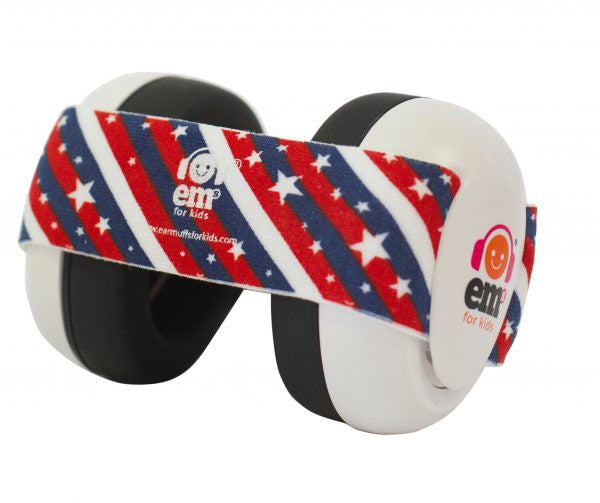 EM's 4 Kids Baby Ear Bubs - White / Stars and Stripes