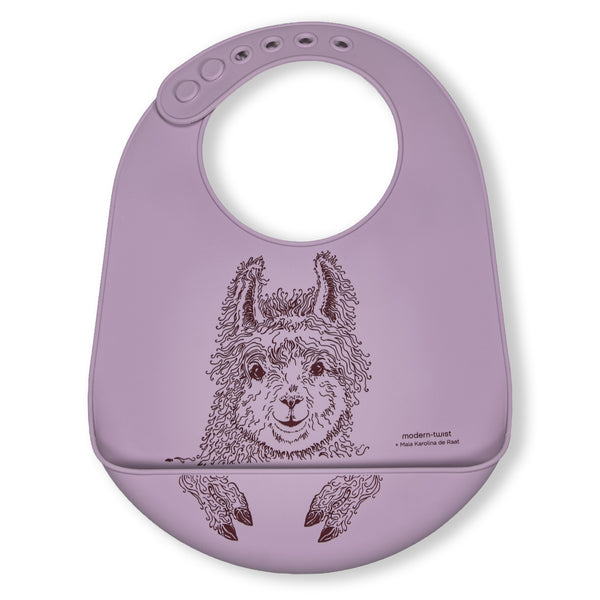 Modern Twist Silicone Catch Bib - Mama Llama / Lovely Lavender
