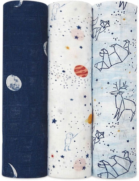 Aden and Anais 3-Pack Silky Soft Swaddles - Stargaze