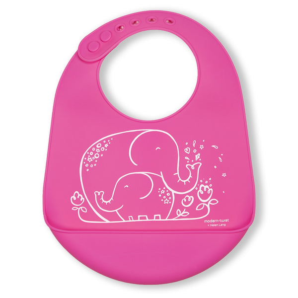 Modern Twist Silicone Catch Bib - Elephant Hugs / Candy Pink