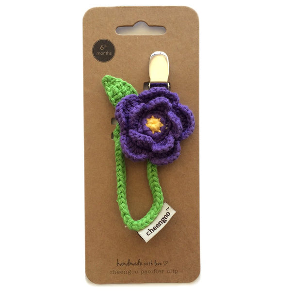 Purple Dahlia Crocheted Pacifier Clip