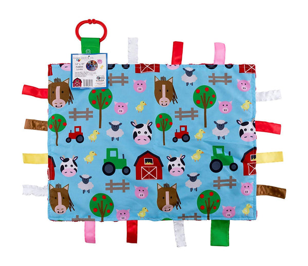 Baby Jack Farm Animals Taggy Comfort Blanket