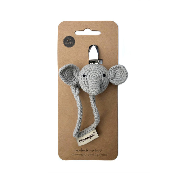 Cheengoo Crocheted Pacifier Clip - Elephant