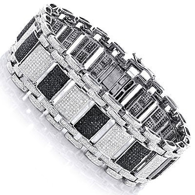 Iced Out 10K Gold Custom White Black Diamond Bracelet for Men 8 47