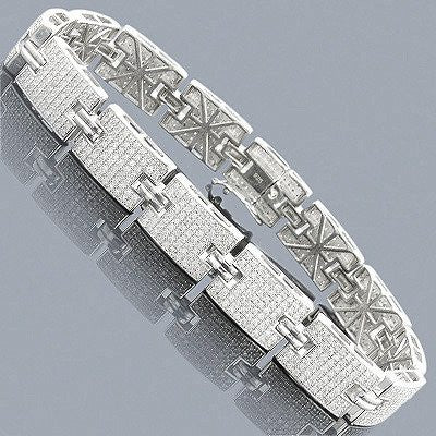 0a36881101fce Sterling Silver Bracelets: Mens Diamond Bracelet 3.97ct