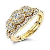 14K Gold Diamond Unique Engagement Ring Set 0.90ct