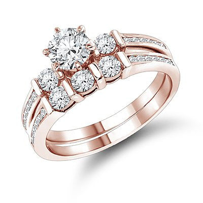14K Gold Diamond Designer Engagement Ring Set 1.28ct
