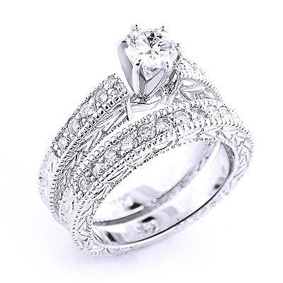ad528369d 14K Gold Designer Diamond Engagement Ring Set 0.98ct – Iceberg ...