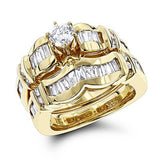 14K Gold Diamond Designer Engagement Ring Set 2.51ct