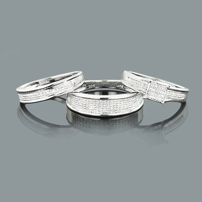 Diamond Bridal Ring Set in Sterling Silver 0.44ct Trio