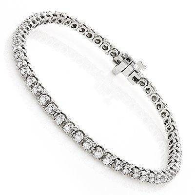 14K Gold Round Diamond Tennis Bracelet for Women 1 3/4ct