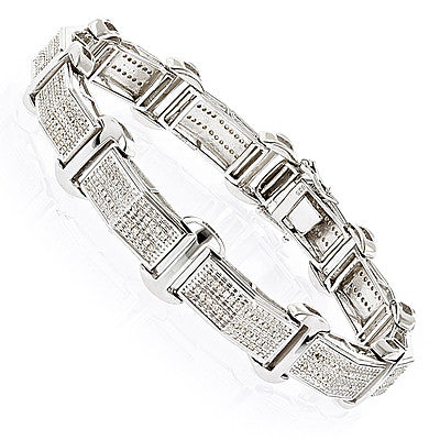Sterling Silver Mens Diamond Bracelet 0 59ct – Iceberg Diamonds INC