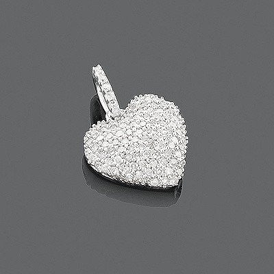 Pave Diamond Heart Pendant 0.32ct Sterling Silver