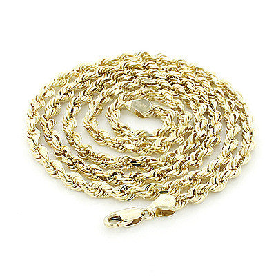 Hollow 10K Yellow Gold Rope Chain 2.5 mm 22-30in