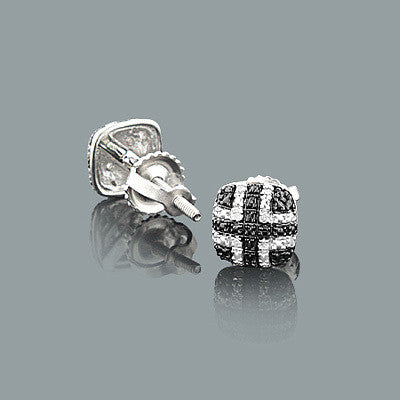 Small Diamond Stud Earrings in Silver 0.05ct Black and White