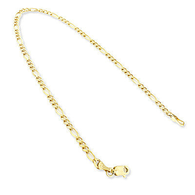 14K Yellow Gold Figaro Chain Bracelet 5.5mm 7.5-9in