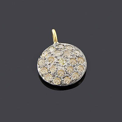 Champagne Diamond Circle Pendant 0.33ct Silver