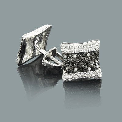 White Black Diamond Earrings 0.14ct Sterling Silver