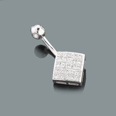 Gold Body Jewelry: Princess Cut Diamond Belly Button Ring 0.69ct