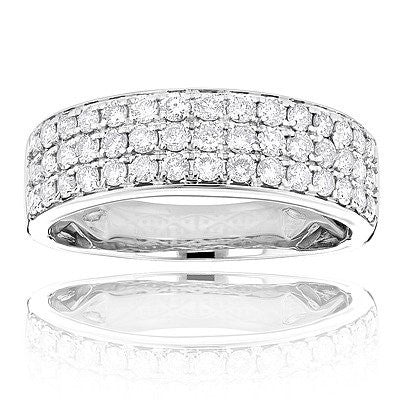14K Gold 3 Row Diamond Ring 1.35ct