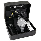 Mens Diamond Watches Fully Iced Out Watch 1.25ct Luxurman Liberty Swiss Mvt
