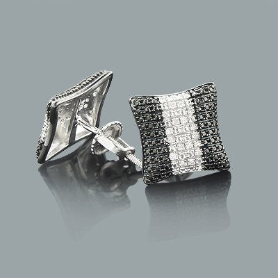 Black and White Diamond Earrings 0.08ct Sterling Silver