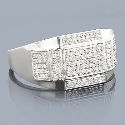 Sterling Silver Mens Diamond Ring 0.34ct