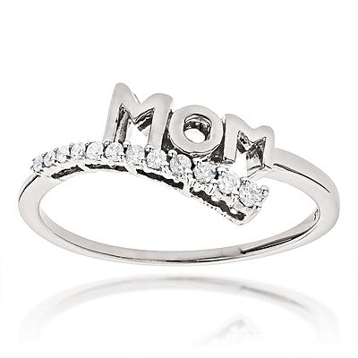 14K Gold Diamond Mom Ring 0.13ct Journey Diamond Jewelry Style 0.13ct
