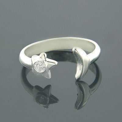 Adjustable 14K Gold Diamond Toe Ring Star Moon 0.04ct