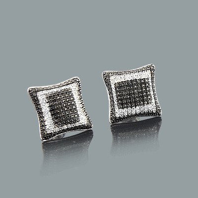 Discount Diamond Earrings 0.15ct Black and White Sterling Silver