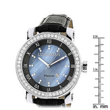 Luxurman Mens VS Diamond Bezel Watch 4 ct Blue MOP