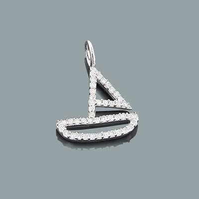 Small Diamond Charms: 10K Gold Boat Pendant 0.17ct