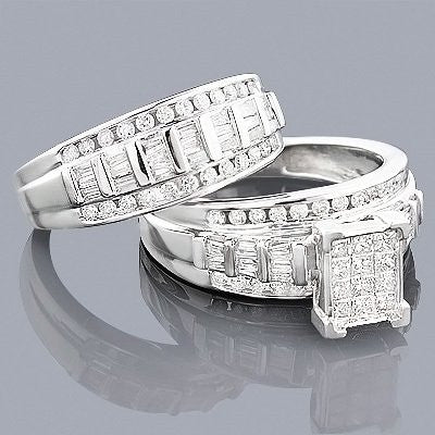 14K Diamond Engagement Ring Set 1.56ct
