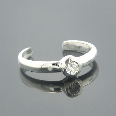 Thin Adjustable 14K Gold Diamond Toe Ring Round 0.04ct