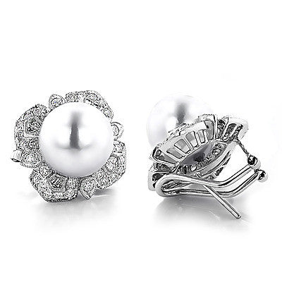 18K Womens Diamond & South Sea Pearl Earrings 1.64ct